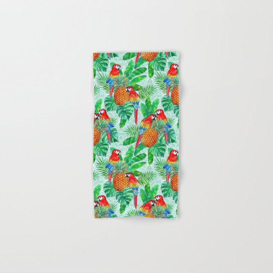 Pineapples and Parrots Tropical Summer Pattern Hand & Bath Towel