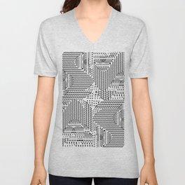 Black and White Juxta Pattern Unisex V-Neck