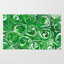 Emerald Green, Green Apple, and White Paint Swirls Rug