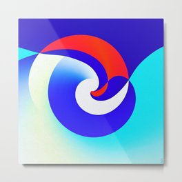 Red Sunset on Blue Ocean Waves Abstract Art Metal Print