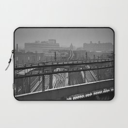 Tales of a Subway Train in Black and White Laptop Sleeve