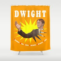dwight Shower Curtains featuring Dwight Schrute  |  The Office by Silvio Ledbetter