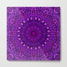Purple Leaves Kaleidoscope Mandala Metal Print