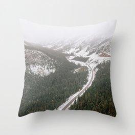 Snowy Mountain Road Throw Pillow