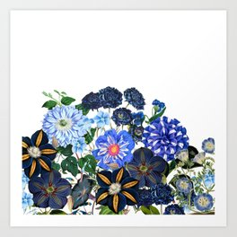 Vintage & Shabby Chic - Blue Flower Summer Meadow Garden Art Print