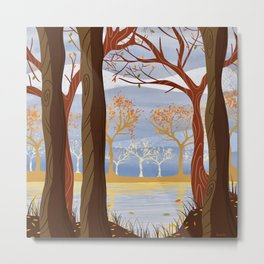 Autumn Leaves Autumn Woods Metal Print