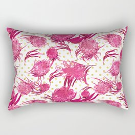 Pink and Gold Australian Native Floral Pattern - Protea, Grevillea and Eucalyptus Rectangular Pillow