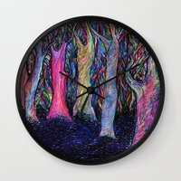 the shining Wall Clocks featuring Shining forest by ShaMiLa