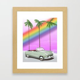Vintage Car and rainbow, Framed Art Print