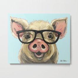 Cute Pig Painting, Farm Animal with Glasses Metal Print