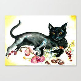 Coffee, Orchid and Black Cat Vintage Style Large Format XXL Canvas Print