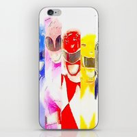 power rangers iPhone & iPod Skins featuring Power Rangers by americanmikey