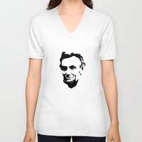 lincoln V-neck T-shirts featuring Lincoln by Charles Emlen