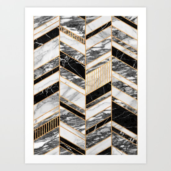 Abstract Chevron Pattern - Black and White Marble by zoltanratko