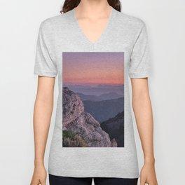 Misty Mountains At Sunset. Sierra Nevada Unisex V-Neck