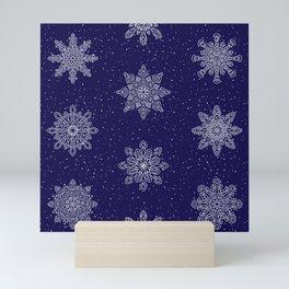 65 MCMLXV Navy Blue Winter Snowflake Pattern Mini Art Print