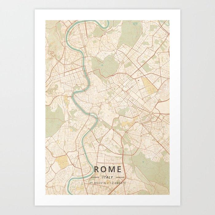 Rome, Italy - Vintage Map Kunstdrucke