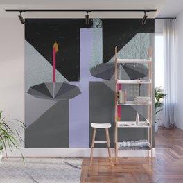 Umbrellas in the Rain Wall Mural