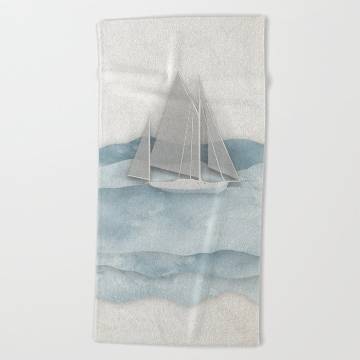 Floating Ship Beach Towel