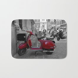Red Vintage Vespa  PX 125 E in Nice French Riviera Bath Mat