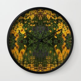 YELLOW RUDBECKIA DAISIES WATER REFLECTIONS Wall Clock