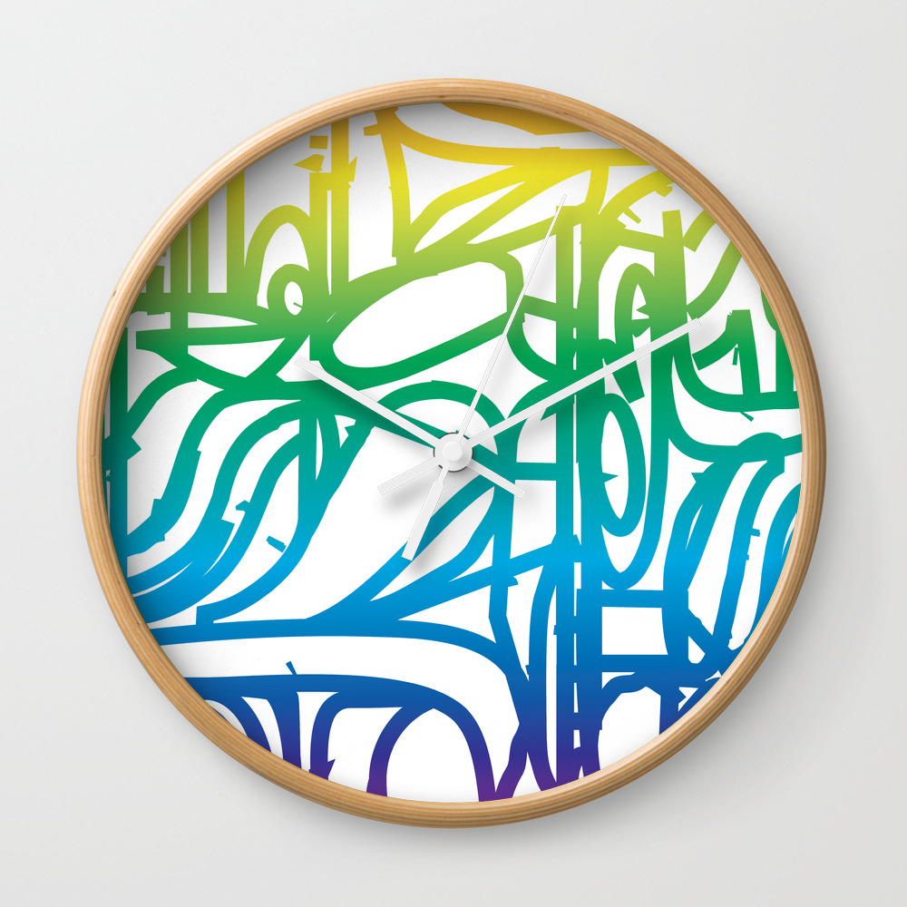 Rainbow Stained Glass Pattern Wall Clock by Charker CLK8575355