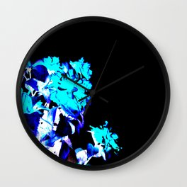 Aqua Turquoise Blue Inverted Floral Wall Clock