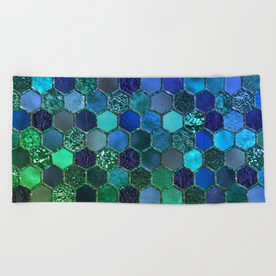 Blue & green geometric hexagonal elegant & luxury pattern Beach Towel