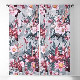 Fashion botanical vector pattern with pink cherry flowers  Blackout Curtain