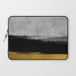 Black and Gold grunge stripes on modern grey concrete abstract backround I - Stripe - Striped Laptop Sleeve