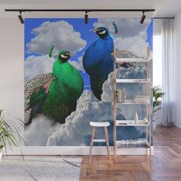 GREEN PEACOCK & BLUE PEACOCK CLOUDS MODERN ART Wall Mural