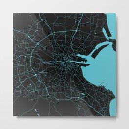 Dublin Ireland Black on Turquoise Street Map Metal Print