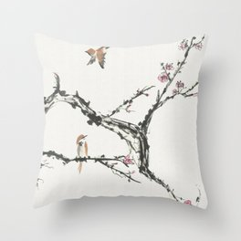 Sparrows & Blossoms Throw Pillow