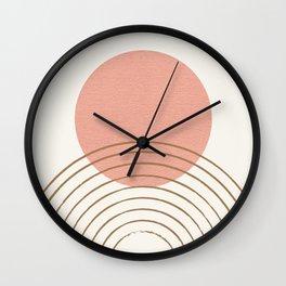 Pink Sun Mid-Century Full Wall Clock