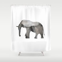 Black Watercolor Elephant Shower Curtain