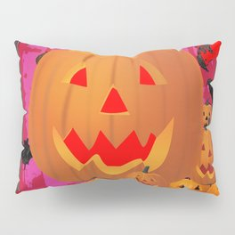 HALLOWEEN JACK O'LANTERNS & BATS ART Pillow Sham