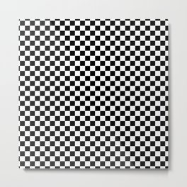 Classic Black and White Race Check Checkered Geometric Win Metal Print