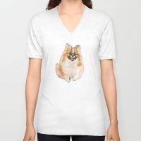 pomeranian V-neck T-shirts featuring Twinki Gurl Pomeranian by gretzky