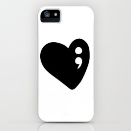 Semicolon Heart for mental health awareness iPhone Case
