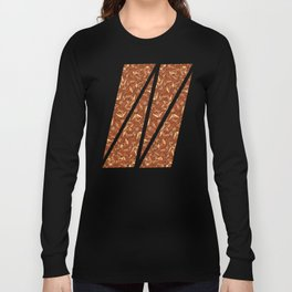 Chocolate Brown Abstract Long Sleeve T-shirt