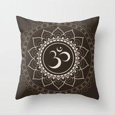 Espresso Brown Om Mandala Throw Pillow