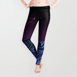 Capricorn Zodiac Constellation Design Leggings