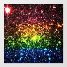 Rainbow Sparkle Galaxy Stars Canvas Print