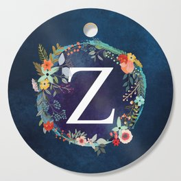 Personalized Monogram Initial Letter Z Floral Wreath Artwork Cutting Board