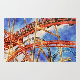 Fun on the roller coaster, close up Rug
