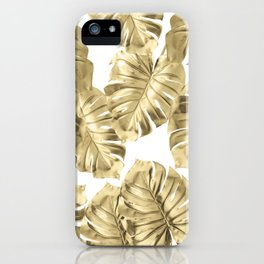 Gold Monstera Leaves on White 2 iPhone Case