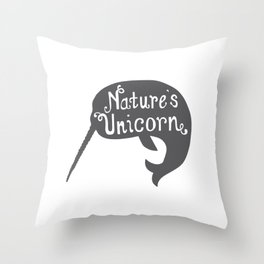 Narwhal Nature's Unicorn Throw Pillow