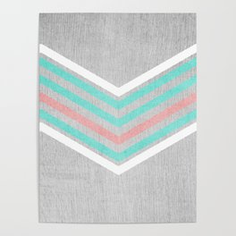 Teal, Pink and White Chevron on Silver Grey Wood Poster