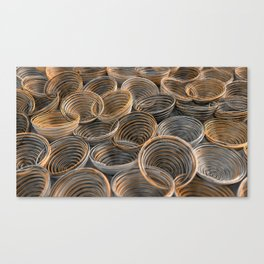 Black, white and orange spiraled coils Canvas Print