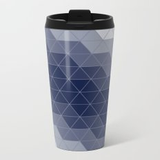 Indigo Navy Blue Triangles Metal Travel Mug